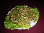 Ispanaki Phakli: Spinatsalat mit Walnüssen und Granatapfel.